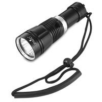 lanterna de mergulho tático venda por atacado-XM-L2 Portátil Mergulho Tático Handheld LED Lanterna Ao Ar Livre 80 m Tocha À Prova D 'Água para Camping Caminhadas Caça Pesca Livre grátis
