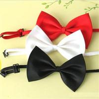 erkek boynu bağları toptan satış-Erkekler papyon boyun kravat ucuz papyon çocuk düz renk taklit ipek pet köpek bow bağları moda ilmek erkek aksesuarları