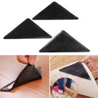 Wholesale corner triangle - 4pcs set Ruggies Rug Carpet Mat Grippers Non Slip Grip Corner Pad Anti Skid Reusable Silicone Useful Tidy Triangle Carpet Mat CCA9755 100set