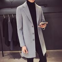korean moda uzun ceket erkek toptan satış-Sonbahar kış erkek yünlü palto Kore versiyonu kendini giydirme moda iş eğlence pamuk uzun tarzı trençkot