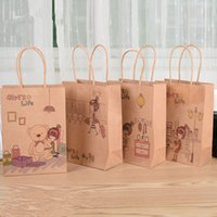 Wholesale 30pcs Paper Handbag Kraft Paper Gift Bag for Party Decoration Cartton Girl s Life Paper Gifts Bags with Handles