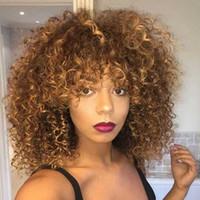 peruk afros toptan satış-Siyah Kadınlar için 14 inç uzun Kıvırcık afro Kıvırcık Peruk Sarışın Peruk Sentetik Saç Karışık Afrika Kahverengi