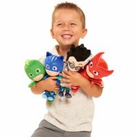 film kahramanları toptan satış-4 Stilleri PJ Maskeleme Karikatür Kahraman Kedi Boy Gekko Owlette Film Peluş Bebek Doldurulmuş Oyuncaklar 20-25 cm Çocuklar Için En Iyi Hediye LC848
