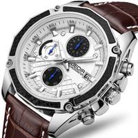 relojes de pulsera al por mayor-Genuine JEDIR relojes de cuarzo masculino Genuine Leather watches racing men Estudiantes juego Run Chronograph Watch male glow hands