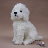 weißer teddybär großhandel-Niedlichen Plüsch White Teddy Dog Puppe Spielzeug Für Kinder Geburtstagsgeschenk Stofftiere Geschenk Spielzeug Shop