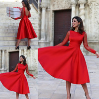 Wholesale Tea Length Dresses Stock - 2018 In Stock Passionate Red Homecoming Dresses A-Line Long Sleeve Lace Tea-Length Charming Girls Party Dresses