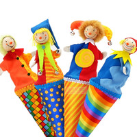 Wholesale Toy Clown Dolls - baby toy cute clown pop up puppets,23cm wooden telescopic stick doll,kids children birthday gifts,plush doll toys for infant
