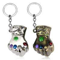 Wholesale keychain marvel resale online - 4 cm Marvel Avengers Thanos gloves Keychain Infinity War Thanos Gauntlet gloves Key Chain Kids Toys pendant Novelty Items color T1I656