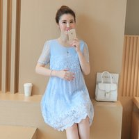 Wholesale mother dresses clothes plus - Mother Dress Summer Large Size Short Sleeves Lace Floral Print Dress Elegant Style Dresses Asian Size Need Size up Clothing
