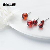 ingrosso accessori pietra rubino-INALIS New Cute Orecchini S925 Sterling Silver Single Ruby Granato Crystal Stone Brincos Fine Jewelry Girl Ear Accessori