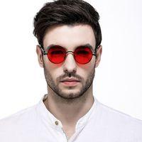 круглые солнцезащитные очки мужское цветное зеркало оптовых-Brand Smpunk Sunglasses Women Rose Gold Pink Mirror Spring Legs Round Sun Glasses For Men Shades Goggles Color Lens Red Blue