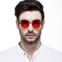 ingrosso occhiali da sole blu-Marca Steampunk Occhiali da sole Donna Rose Gold Pink Mirror Spring Gambe Occhiali da sole rotondi per uomo Occhiali da sole Lenti a colori Rosso blu