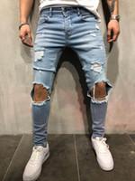 ingrosso disegni biker-Jeans da motociclista da uomo Nuovi pantaloni con effetto bucciato Design Slim Fit Pantaloni a matita Pantaloni lunghi Abbigliamento da strada