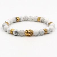 Wholesale lion charm men bead bracelet resale online - Bead Stone Bracelet mm White Turquoises Stone Beads Bracelet Lion Owl Buddha Head Stretch Elastic Men Bracelet