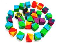 mini pots ronds achat en gros de-Récipient en silicone de couleur assortie de forme de mini cube de 9 ml pour récipients en silicone de forme ronde Dabs