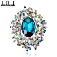 vestidos de diamantes de imitación azul oro al por mayor-Moda Colorida Rhinestones Azul Broche de Cristal Accesorios de Ropa Broches de color dorado para Mujeres Traje de Joyería de Vestido