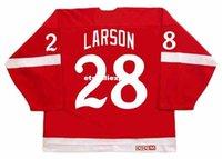 roseau rouge achat en gros de-personnalisé Mens REED LARSON Detroit Red Wings 1982 Maillots CCM Vintage Pas Cher Rétro Jersey De Hockey