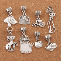 Wholesale Cat Charm Beads - 140pcs lot Tibetan Silver Mix Cat Big Hole Alloy Charm Beads Fit European Bracelet Jewelry DIY BM32