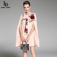 Wholesale Rose Cashmere - Wholesale-LD LINDA DELLA 2017 Women Winter Cloak Wool Coats Warm Elegant Rose Floral Flowers Appliques Sequin Cashmere Coat Outwear
