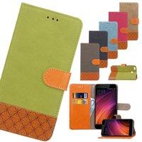 ingrosso jeans caso samsung-Per iPhone Xs Max Xr 8 Plus Galaxy S9 S8 Xiaomi Redmi 4X / Note4 Denim Jean Card Holder portafoglio Flip custodia in pelle
