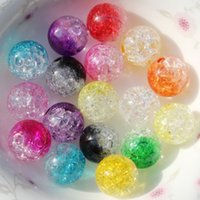 Wholesale Plastic Beads For Crafts - Wholesale Cheap Price 8mm Round Diameter Two-tone Color Crackle Acrylic Loose Beads For Jewelry Craft Marking