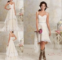 Wholesale two piece detachable wedding dresses - 2018 New Sexy Two Pieces Wedding Dresses Spaghetti Lace A Line Bridal Gowns With Hi-Lo Short Detachable Skirt Country Bohemian Wedding Gown