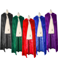Wholesale blue cloak costume for sale – halloween Polyester Halloween Devil Death Vampire Cloak Family Costume Red Black Shiny Cosplay Gown Robe Wicca Joker Clothing Women for Teenage