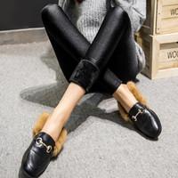 leggings de talla grande al por mayor-2018 Nuevo Sólido Punto medio hasta el tobillo Grueso Office Lady Leggings Engrosamiento de terciopelo Reparación del cuerpo Delgado Brillante Pantalones Tamaño grande