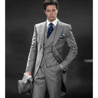 pant morning wedding Australia - New Arrival Morning Suits Slim Fit Two Button Groom Tuxedos Mens Suit Designer Blazers Mens Wedding Suits (jacket+pants+vest)
