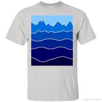 ingrosso arte blu paesaggio-Landscape Staggered Blue Art Immagine Gradient Colour Line Tshirt Mountain Hill