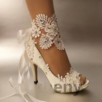 ingrosso fiore aperto di punta-Fatto a mano da donna Moda nastro avorio Scarpe da sposa tacco balletto pizzo fiore da sposa scarpe da damigella taglia 35-42