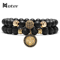 Wholesale Mens Bracelets Lion - Noter Luxury AAAA Animal King Lion Head Beads Bracelet Set 2 Pcs Black Natural Stone Mens Braclet Sets For Male Women Fashion Jewelry
