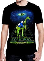Wholesale glowing clothes - DJ Ideal' Mens Rave T Shirt Glow in the Dark EDM Clothing Black Light Reactive Tee Mens T Shirts Fashion 2018 Clothing