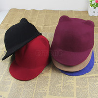 chapéu das orelhas do diabo venda por atacado-Venda quente de Inverno Mulheres Menina De Lã Derby Devil Hat Bonito Kitty Cat Orelhas Bowler Cap W15