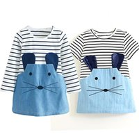 Wholesale Casual Dress For Girls Kid - Toddler Girl Little Dress Children Clothing Girls Party Dress 2 3 4 5 6 Years Denim Kids Clothes School Casual Wear For Children
