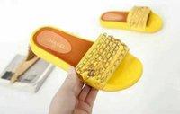 Wholesale Wholesale Designer Sandals - luxury slides flip flops Silk Satin metal chain slide flat heel new wholesale women designer outdoor beach fashion rubber sandals