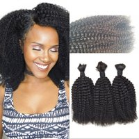 Wholesale 24 human braiding hair resale online - Kinky Curly Human Hair Bulk Bundle for Braiding Coarse No Weft Crochet Braids Hair Extensions FDshine