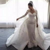 Wholesale sexy big long train wedding dress for sale - Group buy Elegant Overskirts Wedding Dresses Sheer Neckline Appliques Lace Wedding Dress Big Bow Long Train Long Sleeves Bridal Gowns Vintage