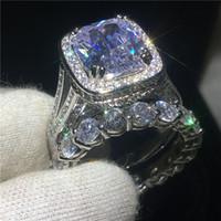 anillo de boda conjunto amortiguador al por mayor-Juego de anillos de los amantes de oro blanco con relleno de cojín 8ct 5A Cz Stone anillo de la boda de compromiso para las mujeres joyería nupcial