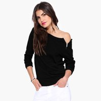Wholesale tshirt chiffon woman - Autumn Spring Side Zipper Tshirt Women Tops Long Sleeve Casual Women T Shirt Off Shoulder Women T-shirt Black Grey