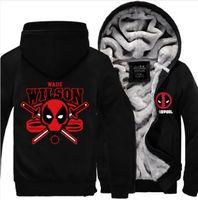Wholesale Women Thicken Fleece Warm Coat - Deadpool Jacket Cashmere Hoodie Super Warm 2018 Men Women Thicken Fleece Zipper Hoodie Men's Coat Hot Sale US EU size Plus size