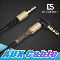 Wholesale rca wholesale - 3.5mm Auxiliary Audio Cable Cord Flat 90 Degree Right AUX Cable with Steel Spring Relief for Headphones iPods iPhones Home Car Stereos