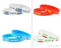 Discount flag boxes wholesale - 2018 Wristband National Flag Printing Bracelet Environmental Multi Color Silicone Bracelet Tide World Cup Gift Bangle Small 1ds X