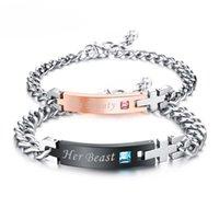 liebe id armband großhandel-JeeMango Romantische LIEBE ID Paar Armband Für Liebhaber Laser Angepasst Gravieren Name