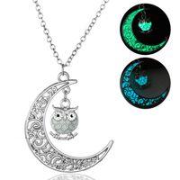 Wholesale owl moon charm - Cute Bird Owl Glow in the Dark Necklace Green Blue Fluorescence Moon Owl Pendant Necklace Chain Fashion Women Jewelry drop ship 162660