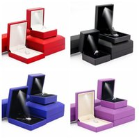 Wholesale Leather Pendant Box - LED Lighted PU Leather Diamond Jewelry Ring Box Gift Propose Engagement Pendant Earring Bracelet Necklace Set 4pcs lot CCA8880 20set