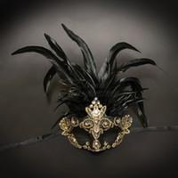 mascarilla mujer sexo al por mayor-Máscara veneciana de la mascarada de la pluma para las mujeres Oro negro Oro Belleza Máscara protectora coreana Máscara Sexo Colágeno Ojo Mujeres adultas