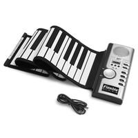 ingrosso tastiera di pianoforte rotolabile portatile-Portatile flessibile 61 tasti in silicone MIDI Digital Soft tastiera Pianoforte flessibile elettronico Roll Up Piano per i bambini regalo di compleanno