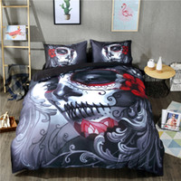 Wholesale Bedroom Decor Bedding Set Twin queen king Size Beauty Skull Pattern Bedclothes Duvet Cover Set Included Comforter Cover Pillowcases