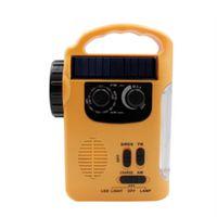 lumières à main rechargeables achat en gros de-Éclairage de secours radio à manivelle AMFM radio à deux bandes extérieure de secours téléphone mobile d'urgence